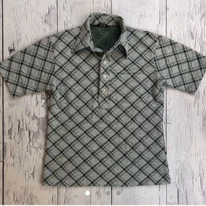 Vintage 70's polo shirt large fit green plaid